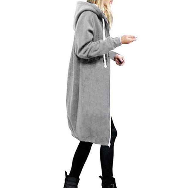 0cb25ae85e16b Harajuku moda abrigos de invierno de mujeres cremallera larga chaquetas  Sudadera con capucha mujer cordón abrigo