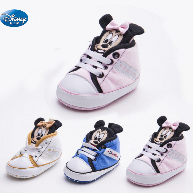 Disney Baby Girls Princess Shoes Cute Cartoon Minnie Pink  Children Mickey  Newborn Soft Toddler Shoes