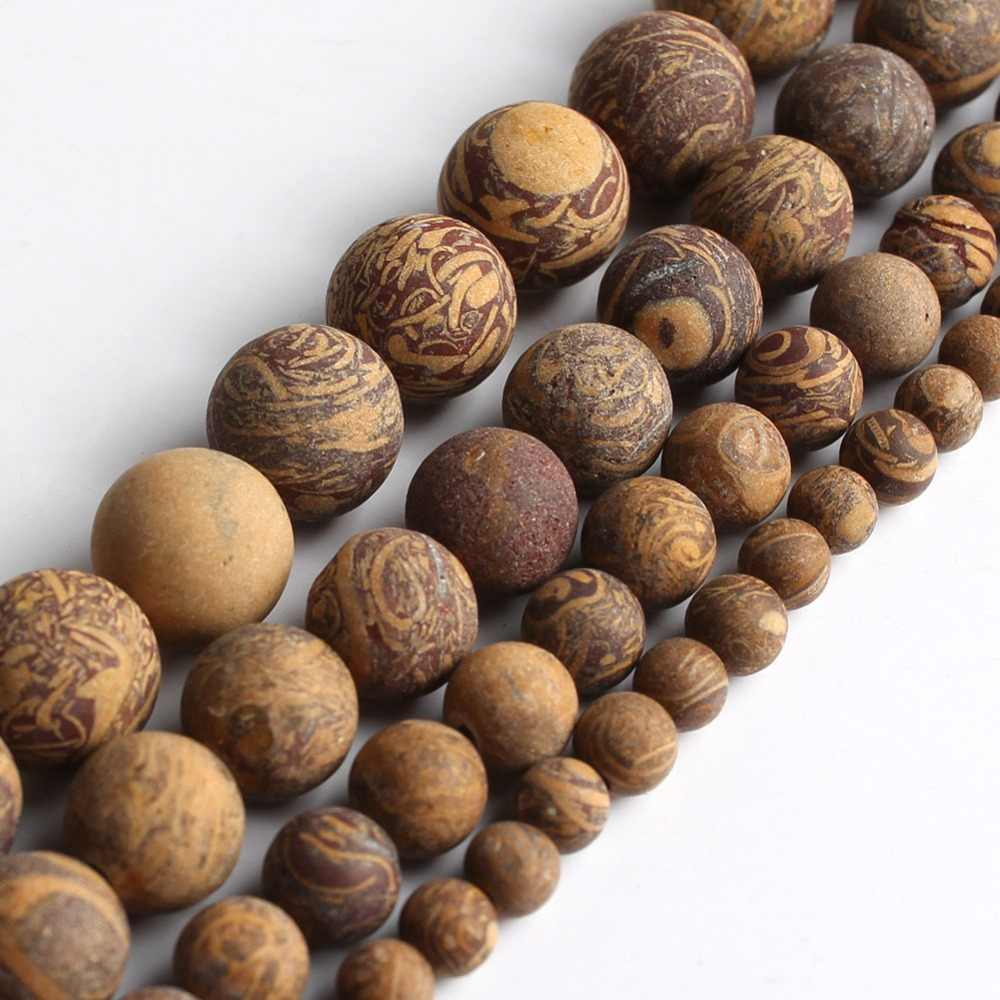 Dull polish Matte Natural Elephant Skin Jasper Stone Round Beads For Jewelry Making Bracelet 15inches 4/6/8/10/12mm Pick Size