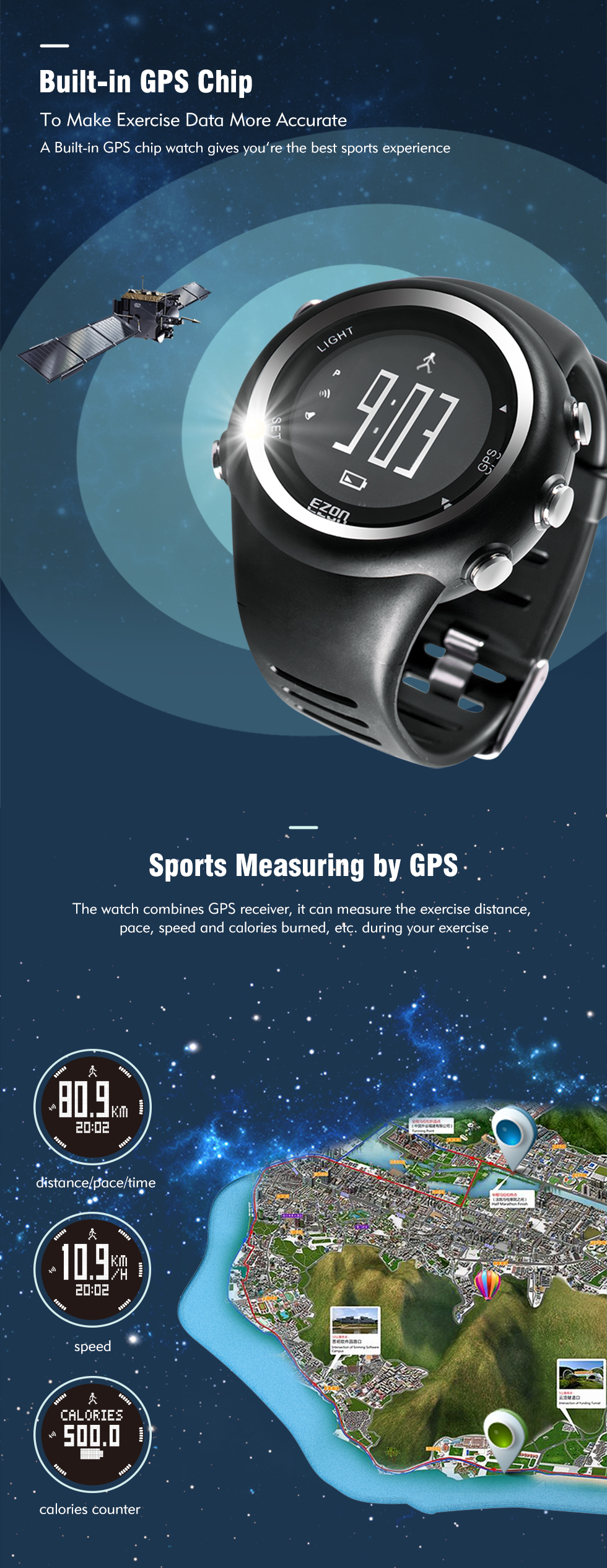 gps, relógio fitness para corrida e esportes,