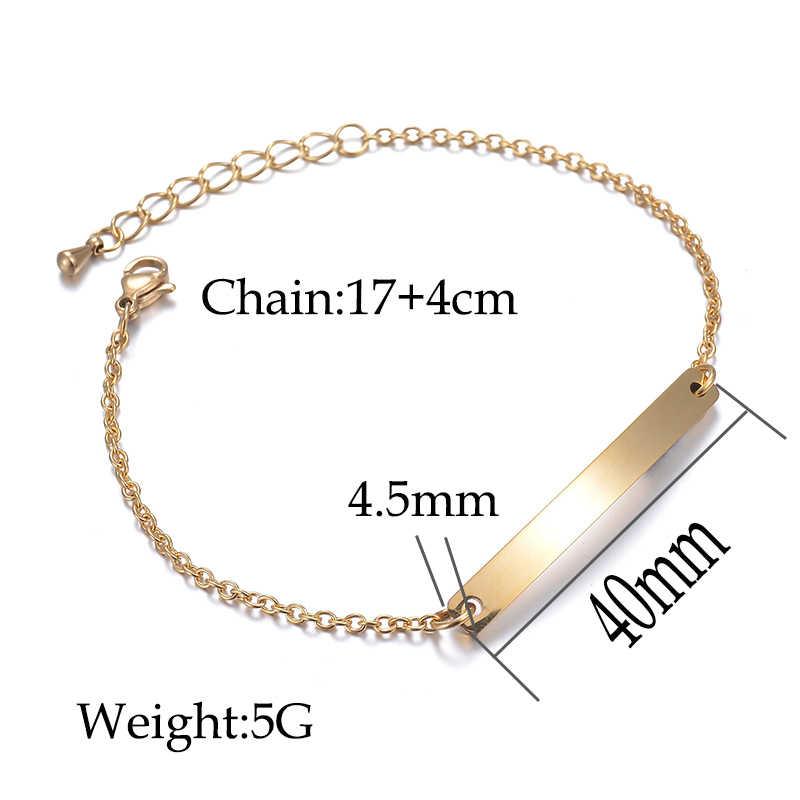 Nextvance Aangepaste Link Chain Armbanden Graveren Naam Datum Id Armband Zilver Kleur Rvs Graveren Armbanden Voor Vrouwen