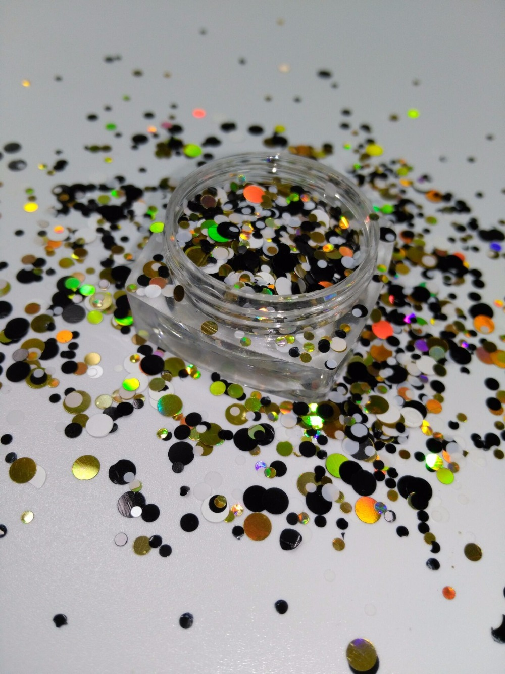 Ym-006 1/2/3 Mm Glitter Mix böse Runde Dot Spangle Form Glitter Flake Kosmetische Pulver Für Nagel Gel Polish-50g/200 Gr/beutel Nagelglitzer