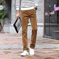Calças De Veludo Cotelê homens Outono Inverno 2016 Modo Derramar Hommes Pantalons Casuais Retas Dos Homens Calças Quentes Plus Size # QP805