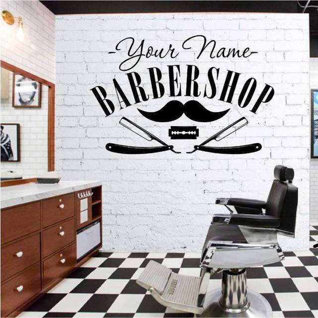 Hair Salon Sticker Decal Gentleman Posters Shave Wall Art Decals Barber Parede Decor Decoration