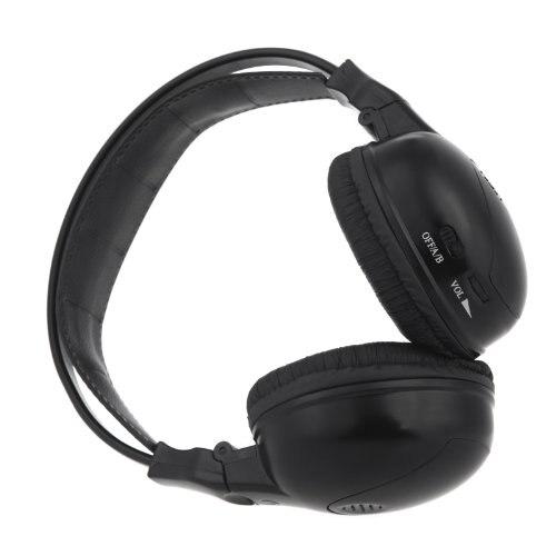 Dayanıklı Kulaklık/kulaklık stereo katlanabilir kızılötesi kablosuz kulaklık IR çift kanal araç kafalık DVD player Siyah