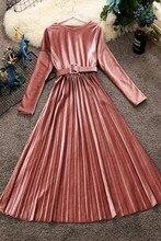 2018 autumn and winter new women round neck long sleeve waist velvet dress female O-neck vintage elegant pleated dresses