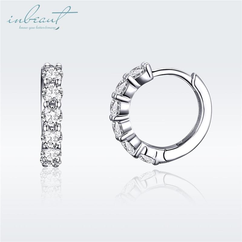 inbeaut White Zircon Round Hoop Earrings 925 Sterling Silver Shiny CZ Circle Wedding Earrings for Women Original S925 Jewelry in Earrings from Jewelry Accessories