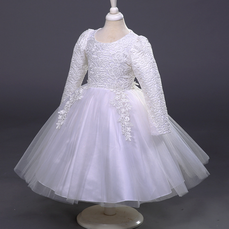 New Girls Children Princess Dress Wear Long Sleeved Dress Kids Clothing Lace Mesh White children wear new autumn winter girls princess dress suit kids clothing red silk with jackets mesh flowers