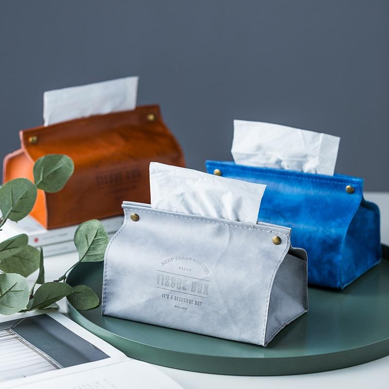 Creative PU Leather Tissue Box Soft Foldable Napkin Holder Letter Print Tissue Case Home Kitchen Paper Holder Storage Box