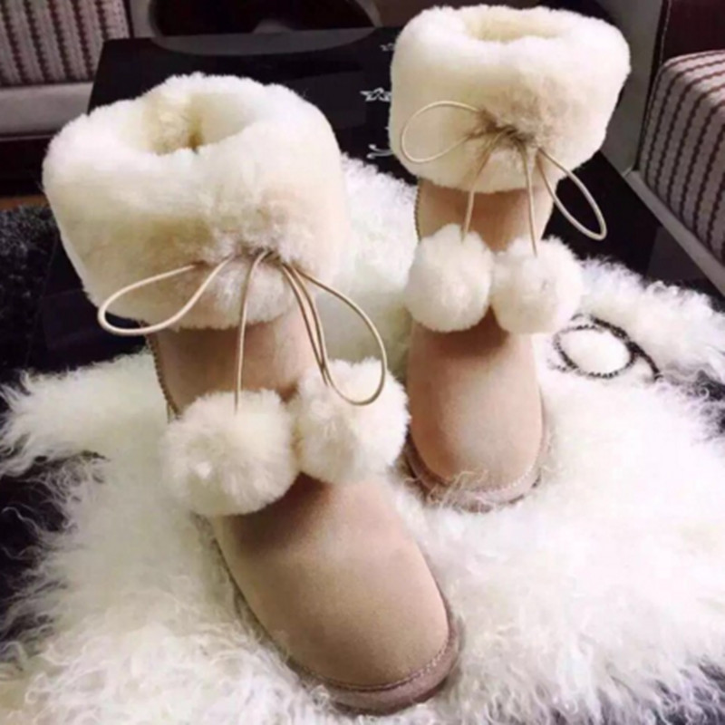 BLIVTIAE/Luxur Winter Sheepskin Fur Snow Boots Inside Natural Wool  Genuine Leather Women's Boots Flat Middle Boot Female Shoes