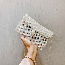 купить Women Handbags Handmade Pearl Bags Ladies Evening Party Shoulder Bag Elegant Beaded Messenger Crossbody Bags MIni Phone Purse по цене 670.2 рублей
