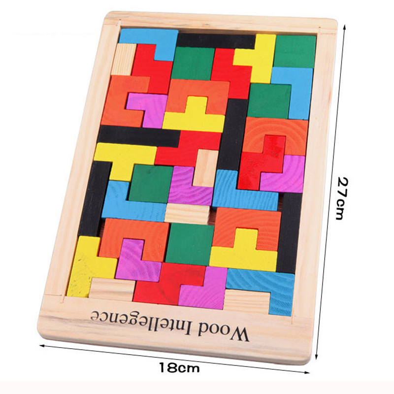 Colorful Wooden Puzzle Tetris Intellectual Children's learning Educational Toy For Game girl and boy fun gift funny fishing game family child interactive fun desktop toy