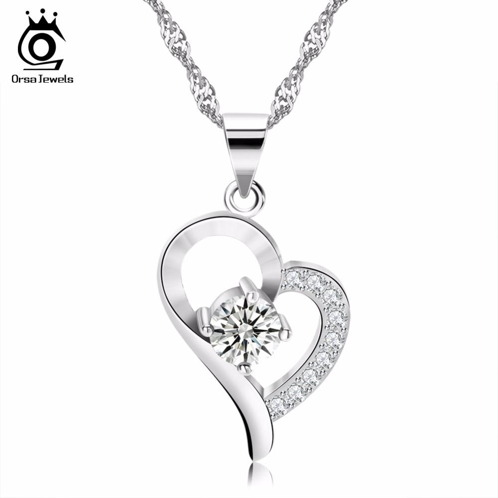 39f8481afa38 Orsa joyas de plata corazón pedante collar Crystal inserta plata Color Mujer  joyería para el Día de San Valentín regalo de amante ON19 en Gargantilla ...