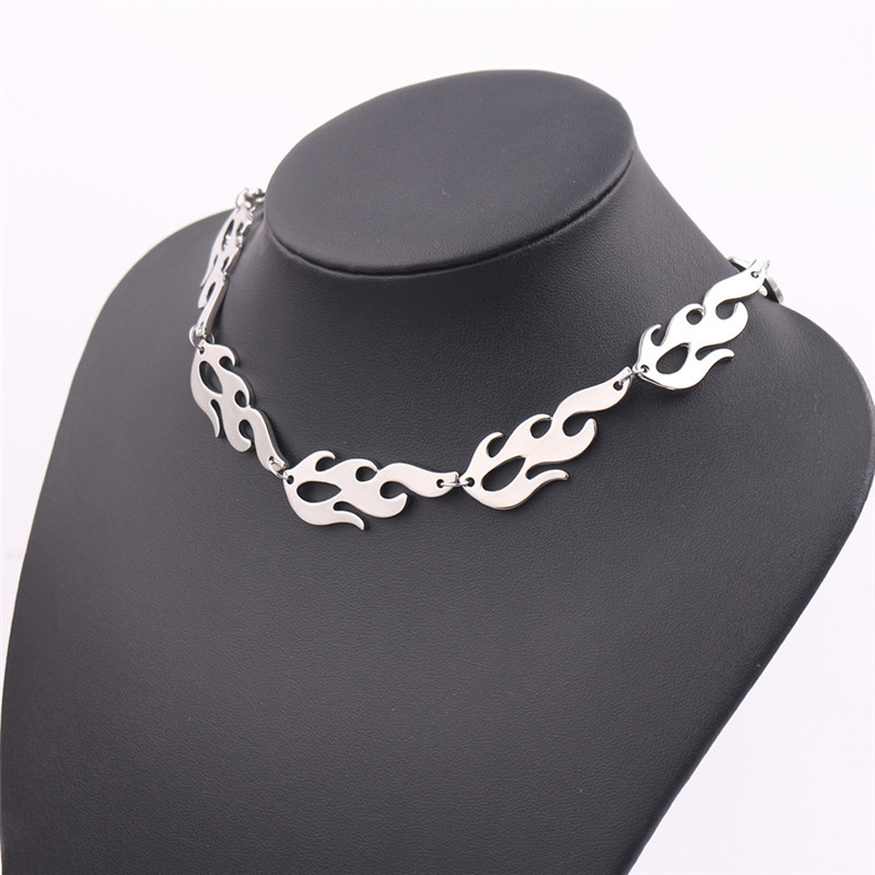 Fashion Necklaces 2019 Harajuku Streetwear Flame Unisex Necklace Punk Accessory Rock Chain Choker Necklaces Nightclub Jewelry