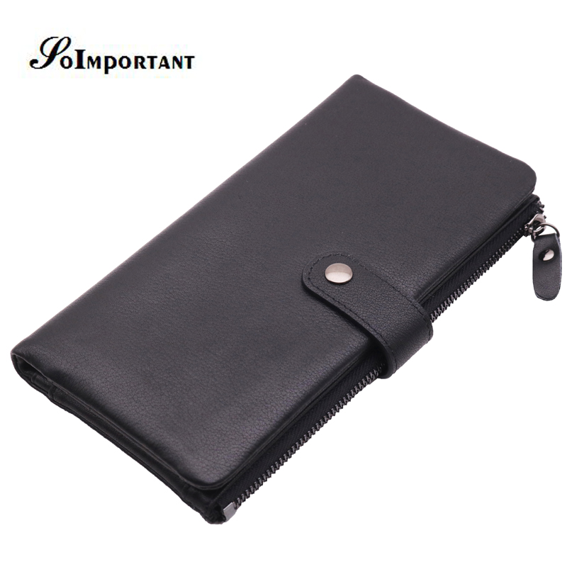 цены New Genuine Leather Men Wallets Male Long Clutch Vintage Style Man Wallet Fashion Brand Coin Purse Card Holder Zipper Money Bags