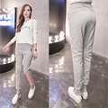Spring Fashion Black Gray Blue Color Casual Pants Women 2017 New Zipper Pockets Striped Pants Female Leisure Trousers Plus Size