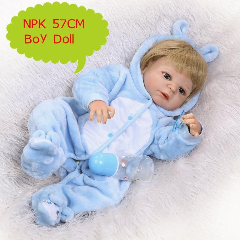 클래식 57 cm 수제 전체 실리콘 비닐 다시 태어난 아기 소년 인형 블루 인형 옷 세트 갈색 인형 인형 가발 아이 선물로-에서인형부터 완구 & 취미 의  그룹 1