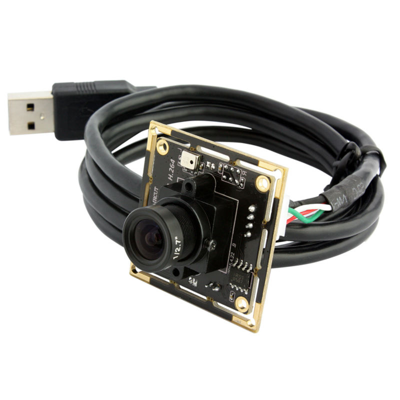ELP Industrial HD 720P Mini CCTV Security Camera USB Web Cam CMOS OV9712 Board Camera Module with MIC Microphone for Android elp 1080p h264 aptina ar0330 color cmos camera module usb cctv full hd 2 8mm wide angle lens camera module usb with audio mic