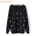2016 Winter autumn casual pullovers tops long sleeved flower embroidery knit sweater solid lines warm women sweaters pullovers