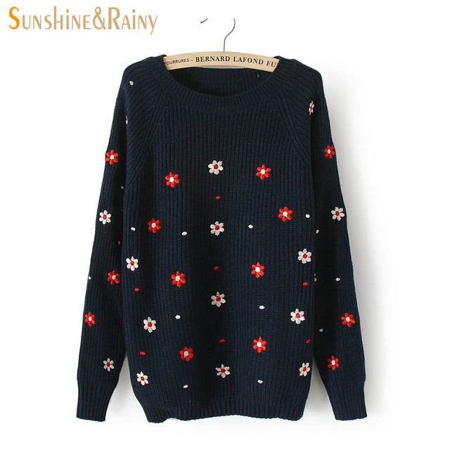 2016 Winter autumn casual pullovers tops long sleeved flower embroidery knit  sweater solid lines warm women c4de6440d