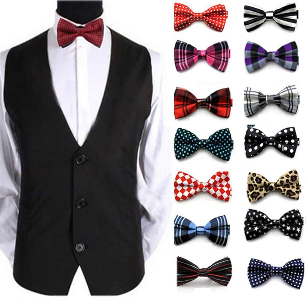 3b621dd13765 Wholesale 50 Colors Adjustable Men's Bow tie Plaid Polka Dots Striped  Pre-tied Tuxedo Bowtie