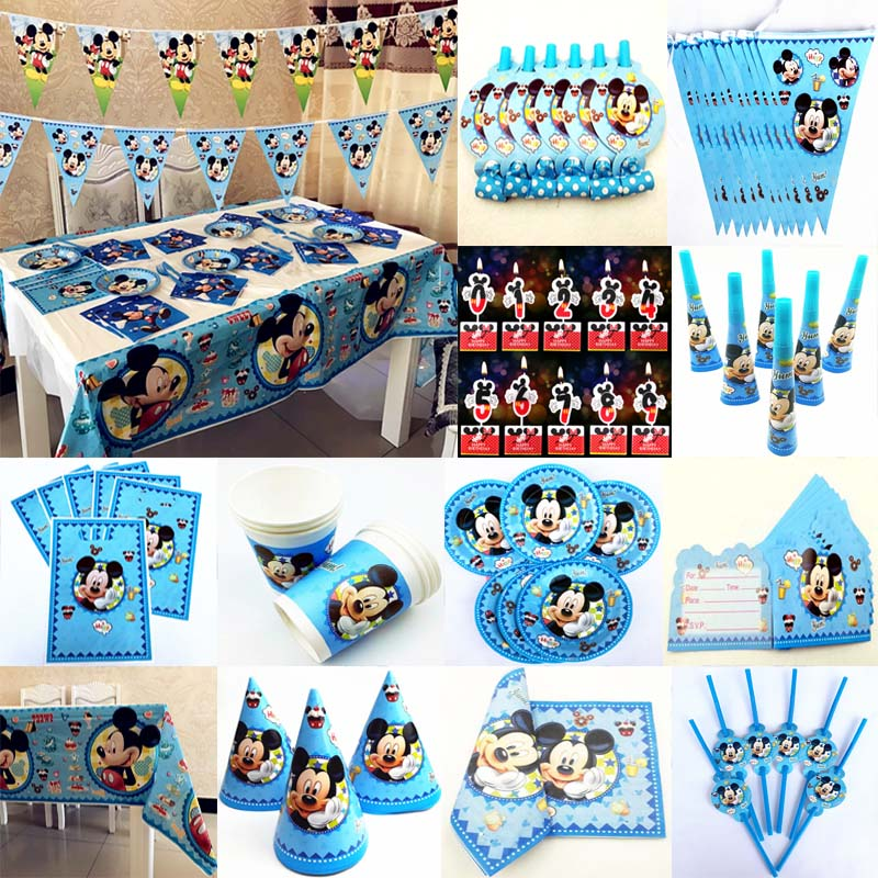 Mickey Mouse Birthday Party Supplies Candle Tablecloths
