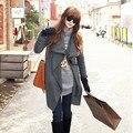 2014 новых корейских женщин летучая мышь шерстяной свободного покроя пончо зимнее пальто куртки бесплатная доставка широкий плащ мыс черный пиджаки 10