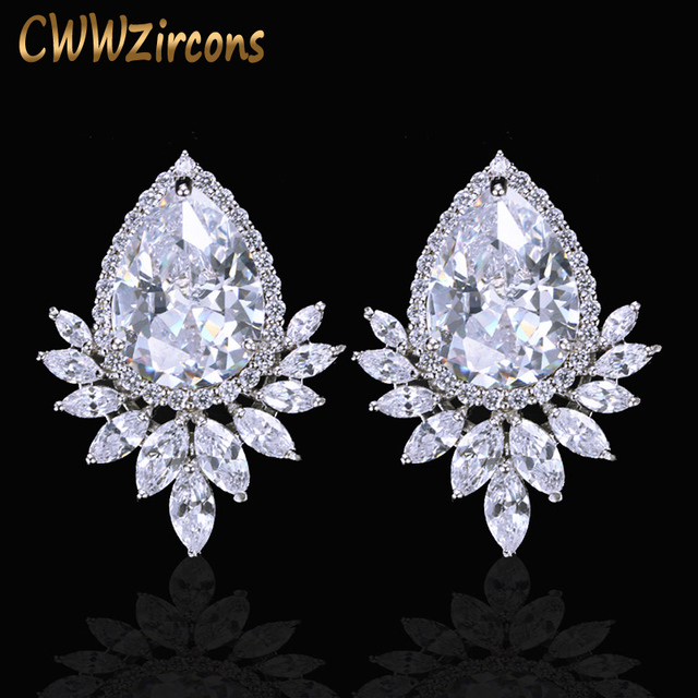 CWWZircons Brand Trendy Diamante Women Ear Jewelry Silver Color Sparkling Big Teardrop Cubic Zirconia Earrings CZ377