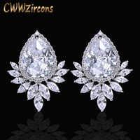CWWZircons marque à la mode Diamante femmes oreille bijoux couleur argent étincelant grande larme cubique zircone boucles d'oreilles CZ377