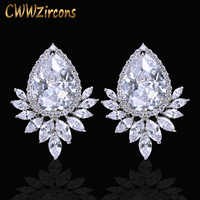 Cwwzircons marca na moda diamante feminino brincos de prata cor cintilante grande lágrima zircônia cúbica cz377