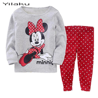 Children Cartoon Pajamas for Girls Minnie Pijamas Kids Spring Autumn Sleepwear Baby Girl Pyjamas Girls Full Clothing Sets CF236