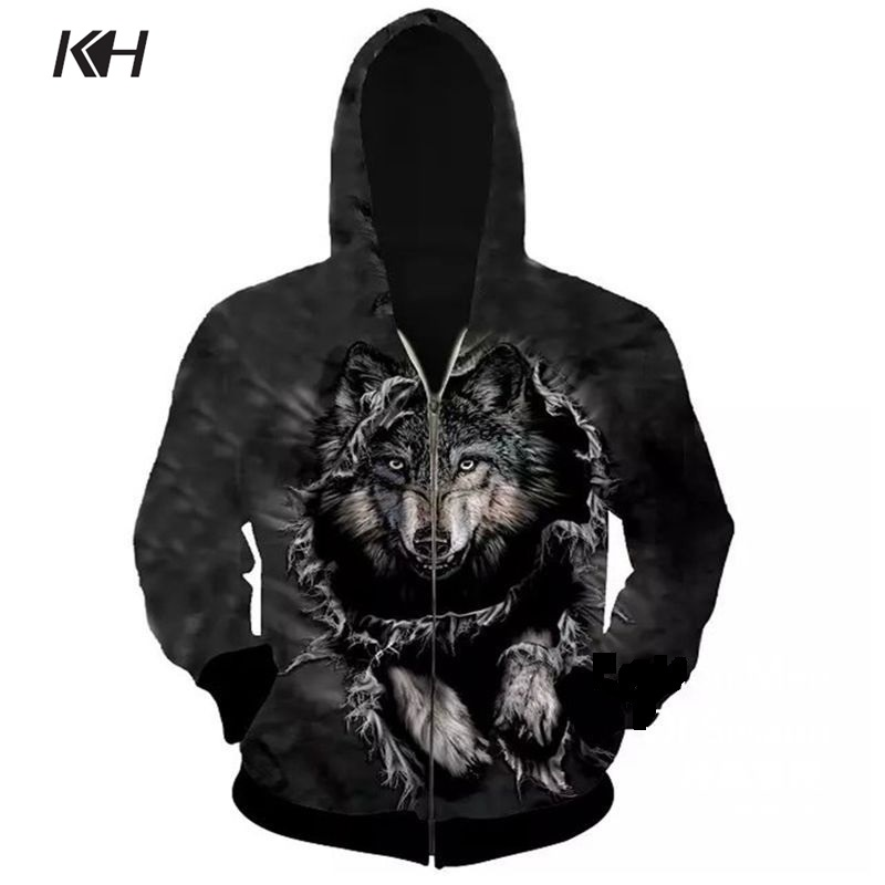 KH New 3D Wolf Printed Hoodies Fashion Men's Hooded Zip Sweatshirts Spring And Autumn Streetwear Casual Hoody Cardigan Tops