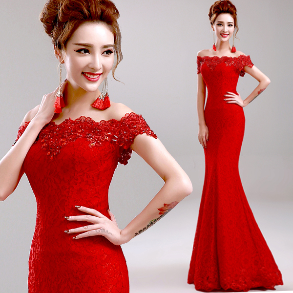 7916685b263 Elegant Long Evening Dress Party Dresses Mermaid Off-Shoulder Boat-Neck  Embroidery Lace Red Evening Dress Vestido De Renda H769