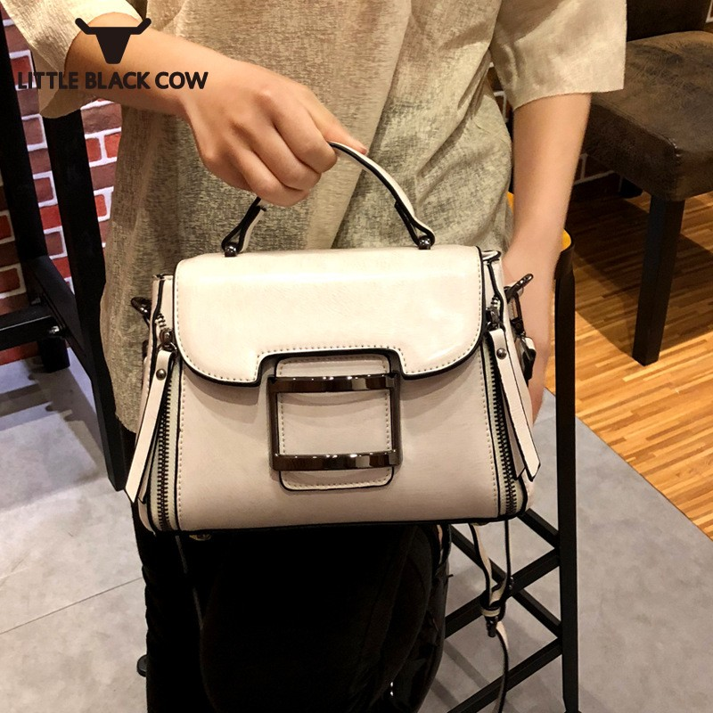 Famous Brand Woman Bags 2019 New Fashion Split Leather Tote Small Shoulder Bags Female Handbag Black/Gray/White Crossbody BagFamous Brand Woman Bags 2019 New Fashion Split Leather Tote Small Shoulder Bags Female Handbag Black/Gray/White Crossbody Bag
