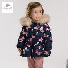 DB3387 дэйв белла зима новорожденных девочек бабочка отпечатано куртка девушки ватник темно-верхняя одежда девушки мода парки