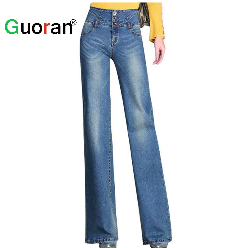 {Guoran} Casual loose jeans pants for women 2017 summer new female fashion wide leg trousers light blue high waist plus size 33 plus size casual loose wide leg pants summer new women s boyfriend spliced holes blue jeans high waist ankle length trousers