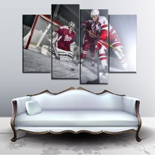 Home Decor Living Room Or Bedroom Canvas Modular Pictures 4 Panel Hockey Player Playing Wall Painting Modern HD Printed Artwork