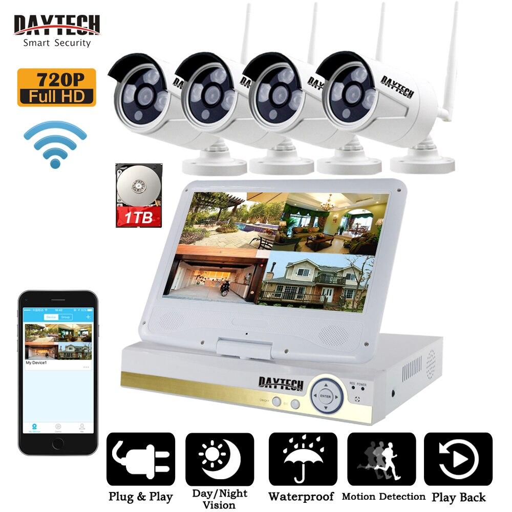 DAYTECH 4CH 720 p Senza Fili di Sorveglianza NVR Kit Sistema di TELECAMERE CCTV WiFi Wireless Display LCD Disco Rigido del Registratore di IR di Notte visione