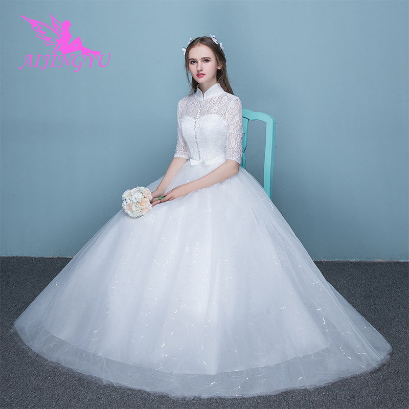 AIJINGYU 2018 V Neck free shipping new hot selling cheap ball gown lace up back formal bride dresses wedding dress FU257