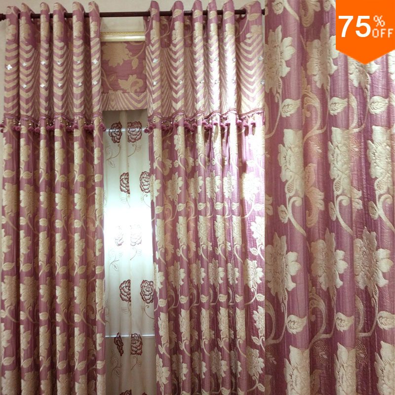 2017 Pink Of Flowers Pink Peach Powder Room Curtains Embroidery Princess Room Living Rooms
