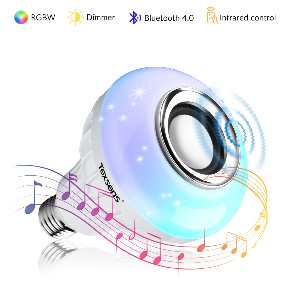 Texsens LED Bulb Night Light Lamp E27/E26/B22 RGBW Wireless Bluetooth Speaker Music Playing 24 Keys Remote Control Night Light