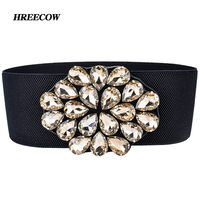 Luxury Brand Ladies Girls Fashion Wide Artificial Crystal Buckle Stretchy Elastic Waist Belt Waistband Belts For