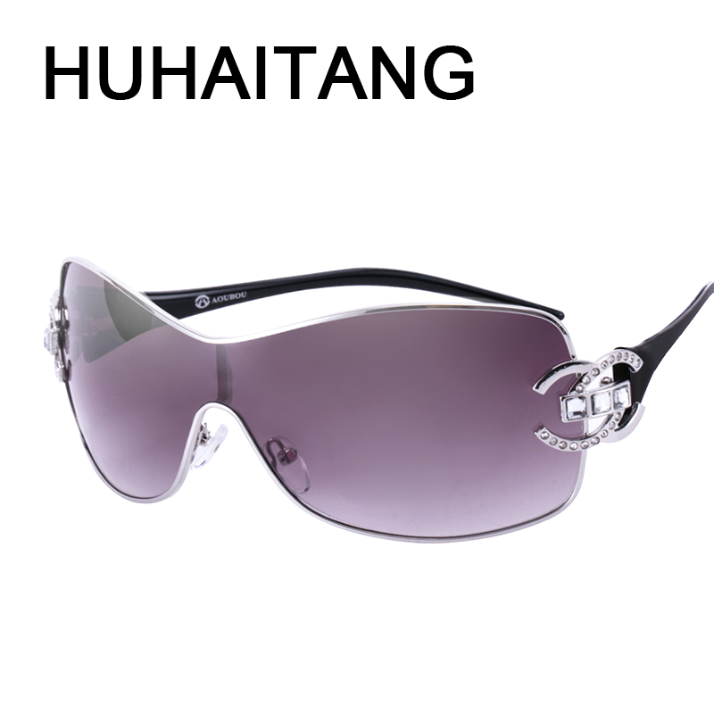 HUHAITANG New Google Sunglasses Women Men Personality Diamond High Quality Brand Designer Sun Glasses UV400 Two Color Eyewear