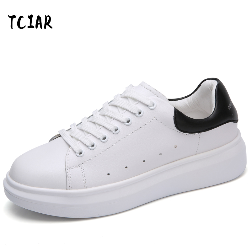 TCIAR Brand Spring Autumn Genuine Leather Women's Thick Flat Sneakers Fashion Women Lace-up Flats Shoes Casual Womens NY80191 instantarts casual teen girls flats shoes appaloosa horse flower pattern women lace up sneakers fashion comfort mesh flat shoes