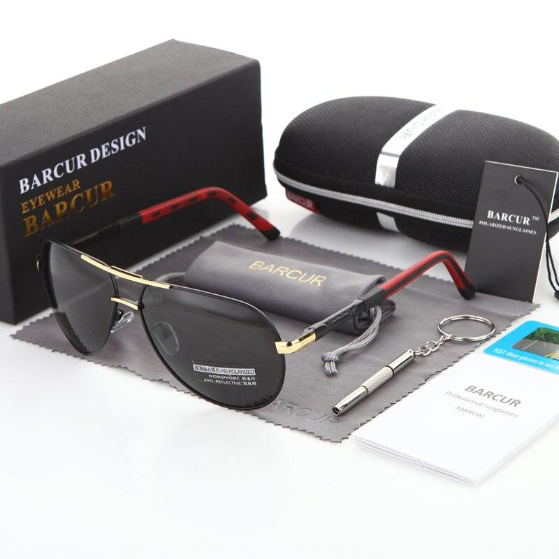 BARCUR Aluminum Magnesium Men's Sunglasses Men Polarized Coating Mirror Glasses oculos Male Eyewear Accessories For Men 13