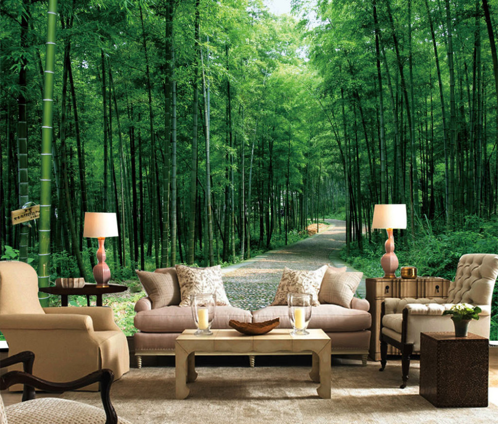 Green Forest Cottage Landscape Full Wall Mural Print Wallpaper Home Art Decal Au