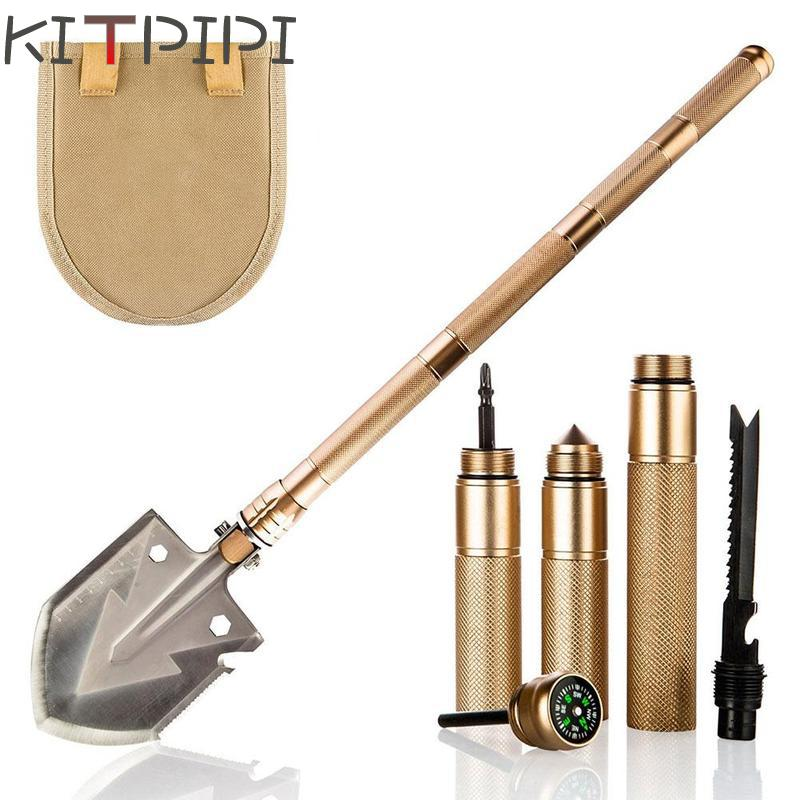 KITPIPI Outdoor Survival Tactical Folding Camping Shovel, Military Equipment, Emergency Bushcraft Survival Annihilate Tool bushcraft