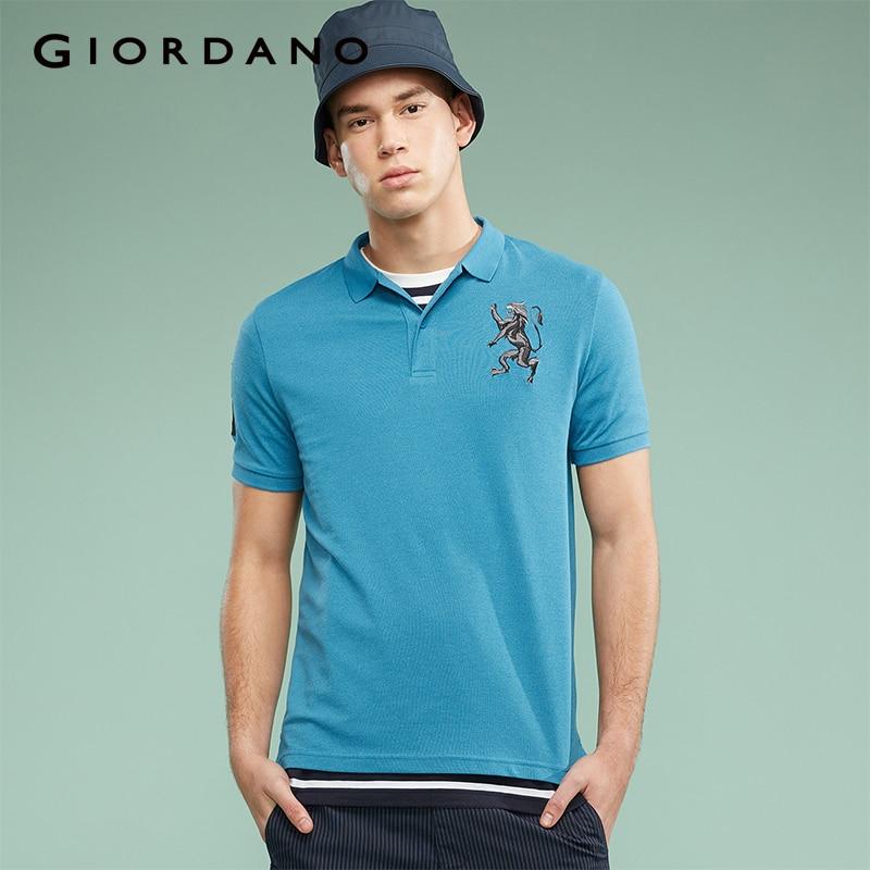 Giordano Men Polo Shirt Men Embroidered 3D Lion Multi Color Polo Men Embroidery Contrast Color Polo Fashion Camisa Polo