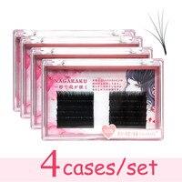 4 case/ set NAGARAKU Eyelash Extensions Auto fans eyelash Easy to fan lash 0.03mm Mixed Length Faux Mink Eyelash Russian volume