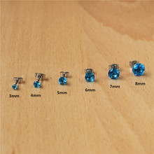 BG5 316 L Stainless Steel Stud Earrings With 3mm To 8mm Ocean Blue Zircons No Fade Allergy Free Classic Style